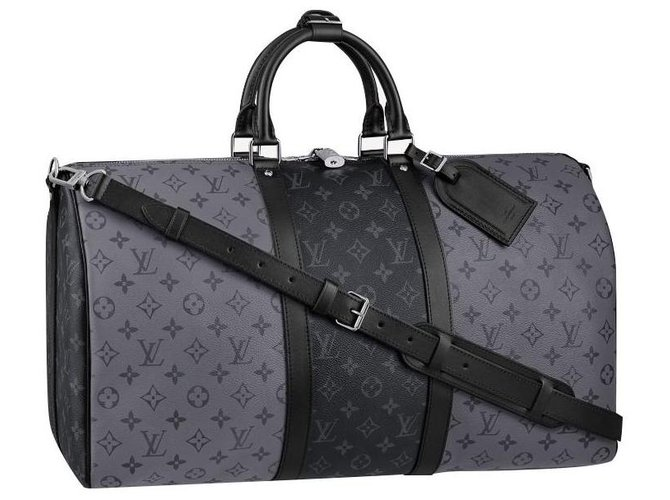 Louis Vuitton LV Keepall eclipse reverse Bags Briefcases Leather Grey ref.223179