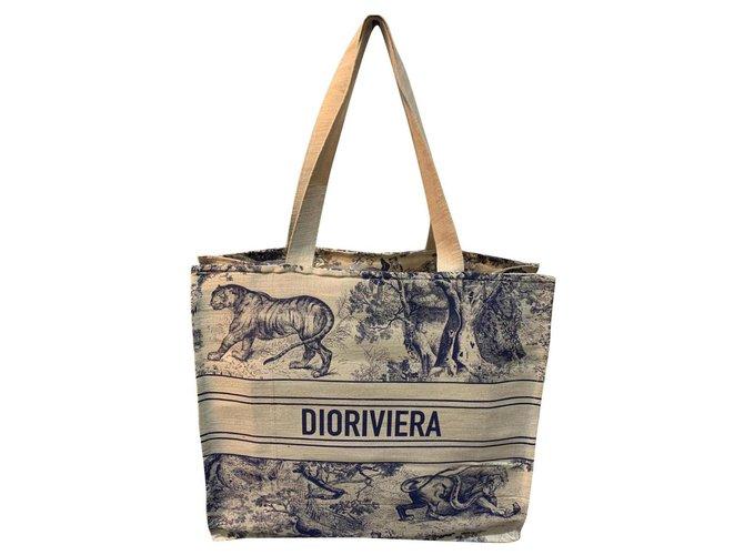 Dior Dior Cabas book Dior Riviera Handbags Linen Blue,Cream ref.223380