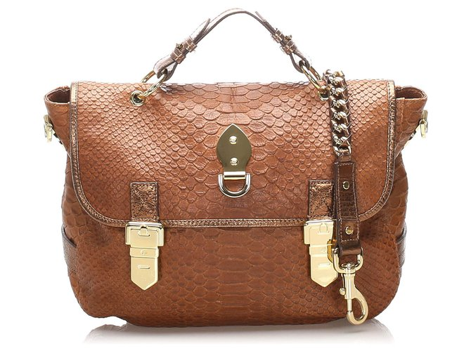 Mulberry Mulberry Brown Tillie Embossed Leather Satchel Handbags Leather,Pony-style calfskin Brown ref.223755