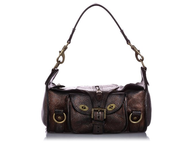 Mulberry Mulberry Brown Leather Shoulder Bag Handbags Leather,Pony-style calfskin Brown,Dark brown ref.224301