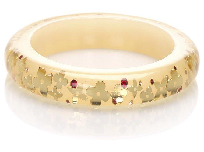 Bracelets Louis Vuitton Louis Vuitton Bracelet Inclusion Monogram Marron Plastique,Résine Marron,Beige,Doré ref.224635