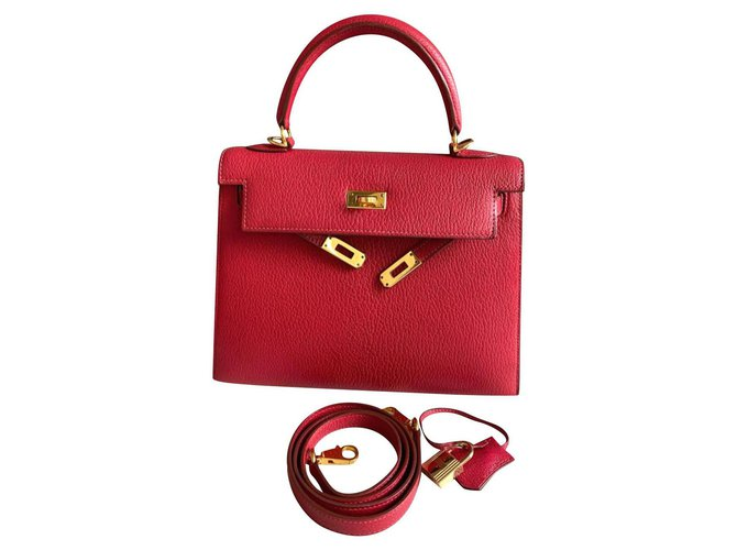 Hermès hermes kelly 25 Rouge Vif Chevre GHW Handbags Goatskin Red ref.224846