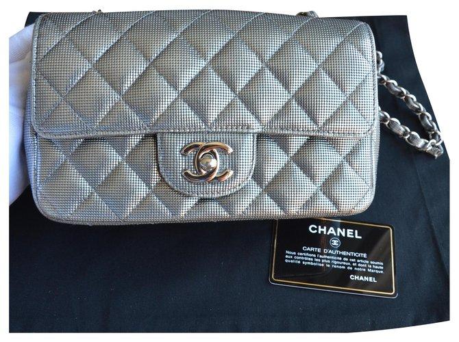 Chanel Chanel Timeless Classic Mini Silver Metallic Pixel Effect Bag Handbags Leather Silvery ref.225215
