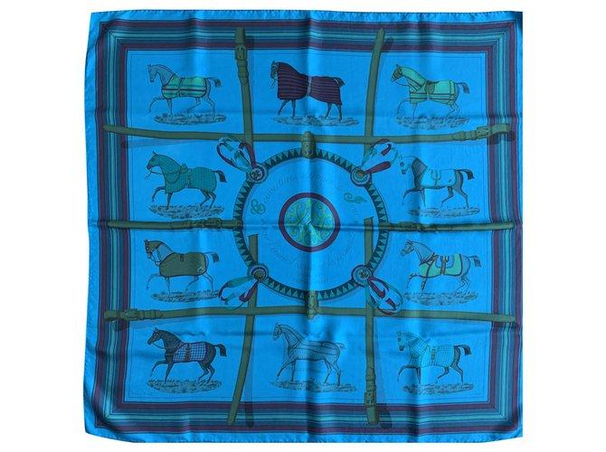 Hermès Silk scarves Silk scarves Silk Blue ref.225343