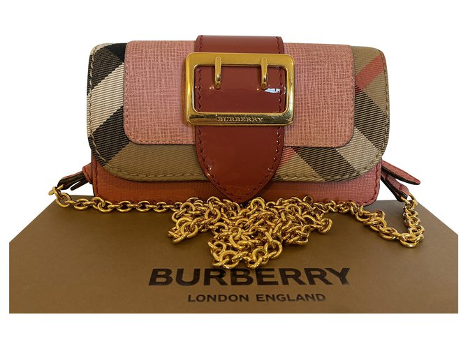 Burberry Burberry Buckle Mini Leather & House Check Bag Handbags Leather Pink ref.225497