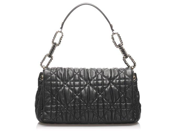 Dior Dior Black Cannage Delices Leather Shoulder Bag Handbags Leather,Pony-style calfskin Black ref.225576