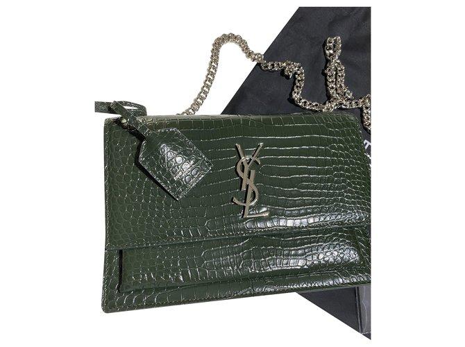 Saint Laurent YSL SUNSET bag Handbags Leather Green ref.226062