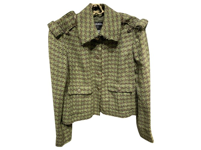 Chanel Jackets Jackets Silk Brown,Green ref.226085