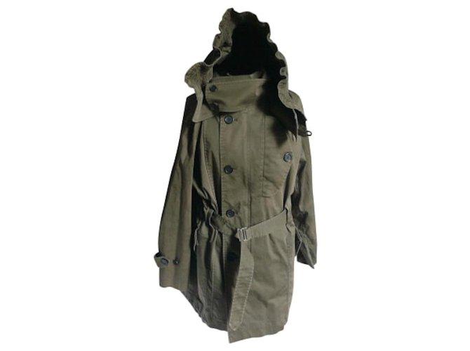 Sandro SANDRO Khaki cotton hooded parka TL Men Coats Outerwear Cotton Khaki ref.226423