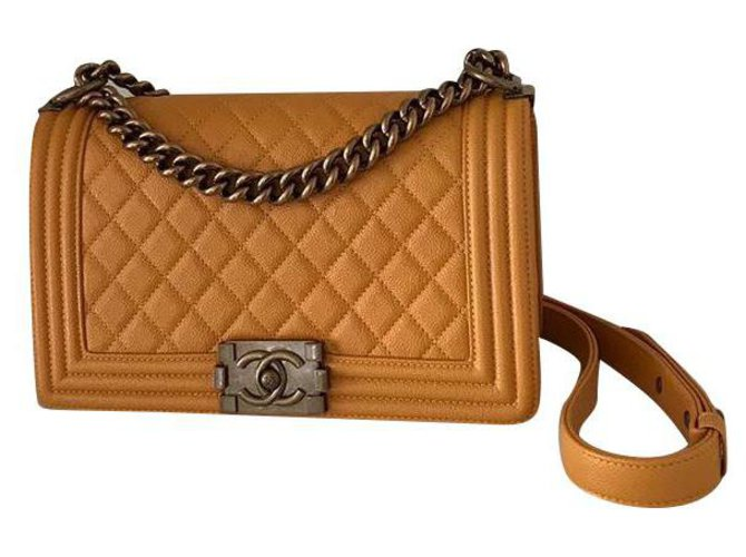 CHANEL BOY YELLOW CRYSTAL LEATHER NEW  ref.226893