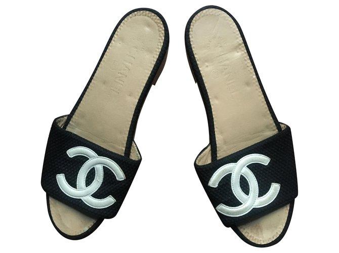 Chanel Chanel shoe Clogs Cloth Black ref.227153