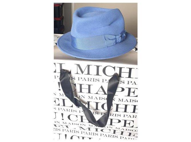 Maison Michel Hats Hats Wool Light blue ref.227399