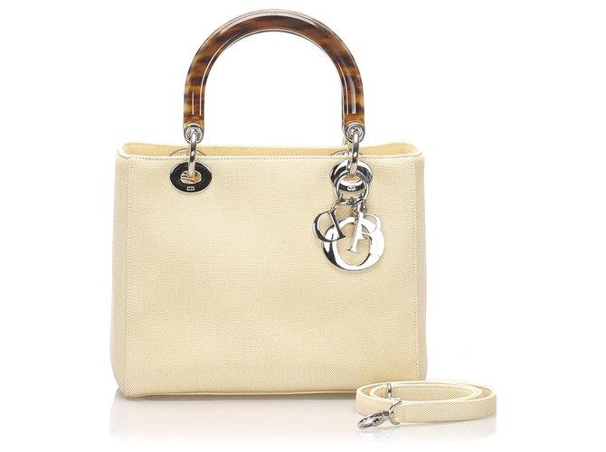 Dior Dior Brown Lady Dior Canvas Satchel Handbags Other,Cloth,Plastic,Cloth Brown,Beige ref.227755