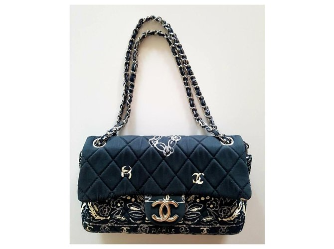 Chanel TIMELESS Handbags Cloth Dark blue ref.228195