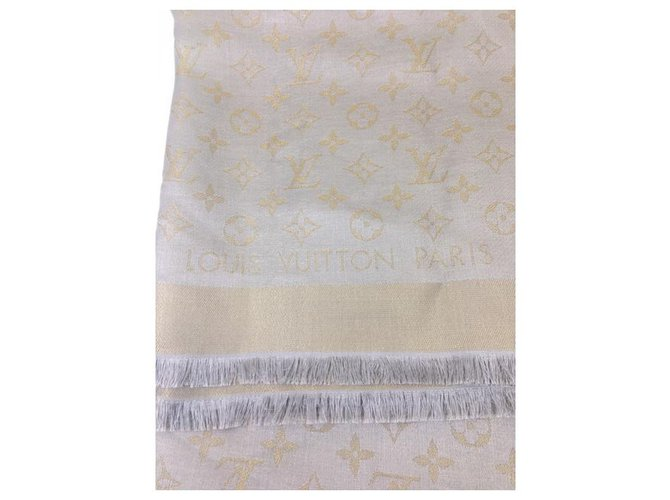 Louis Vuitton Louis Vuitton Shine Monogram Scarves Silk,Polyester,Wool,Viscose Beige,Grey,Gold hardware ref.228502