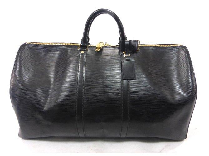 Sacs de voyage Louis Vuitton KEEPALL 55 CUIR EPI NOIR Cuir Noir ref.228733