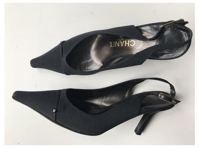 Chanel Satin Slingbacks Black Leather  ref.229054