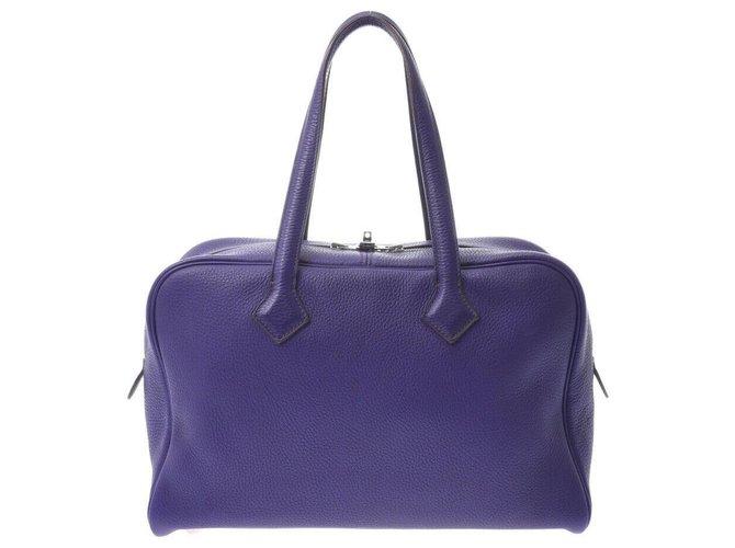 Hermès Hermès Victoria Handbags Leather Purple ref.229560