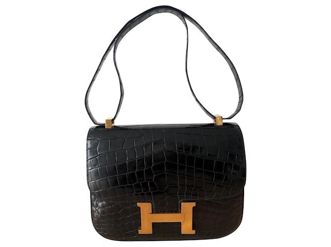 Hermès Hermes Constance black crocodile Handbags Exotic leather Black ref.230142