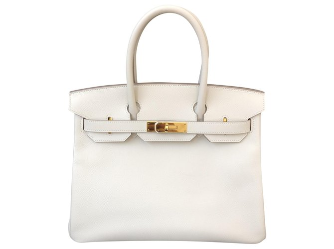 Hermès Birkin 30 Handbags Leather White ref.230146