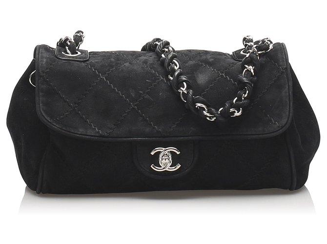 Sacs à main Chanel Sac à rabat en daim noir Wild Stitch Chanel Suede,Cuir Noir ref.230361