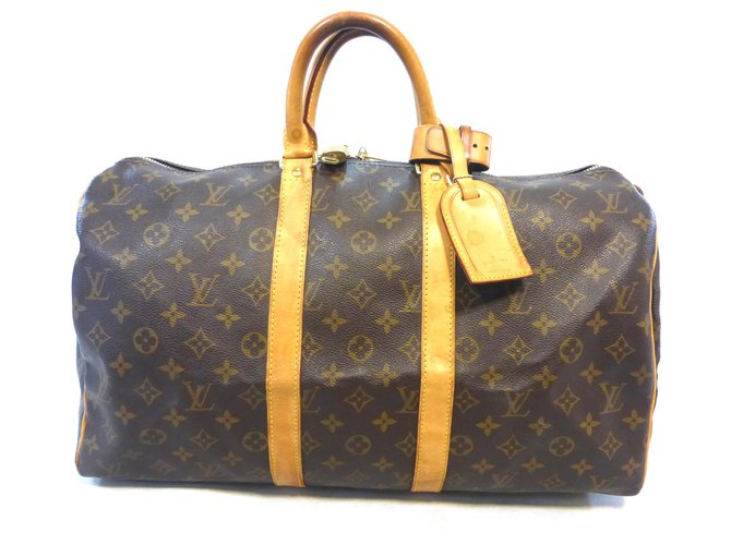 Sacs de voyage Louis Vuitton KEEPALL 45 MONOGRAM Cuir Marron ref.230466