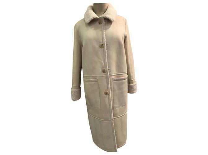 Yves Salomon Yves Salomon turned skin Coats, Outerwear Leather Eggshell ref.231488