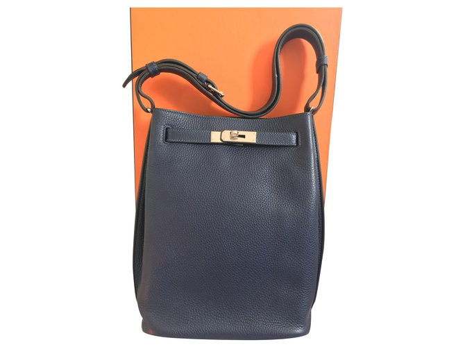 Hermès Hermès So Kelly 22 Handbags Leather Navy blue ref.231605