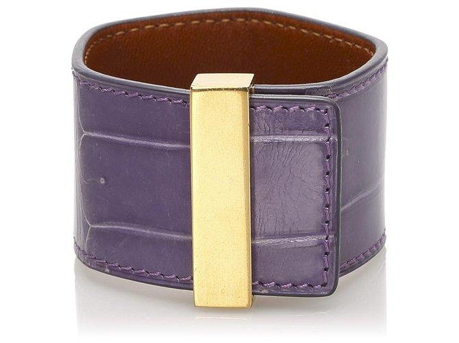 Bracelets Céline Manchette en cuir violet Celine Cuir,Autre,Métal,Veau façon poulain Doré,Violet ref.232083