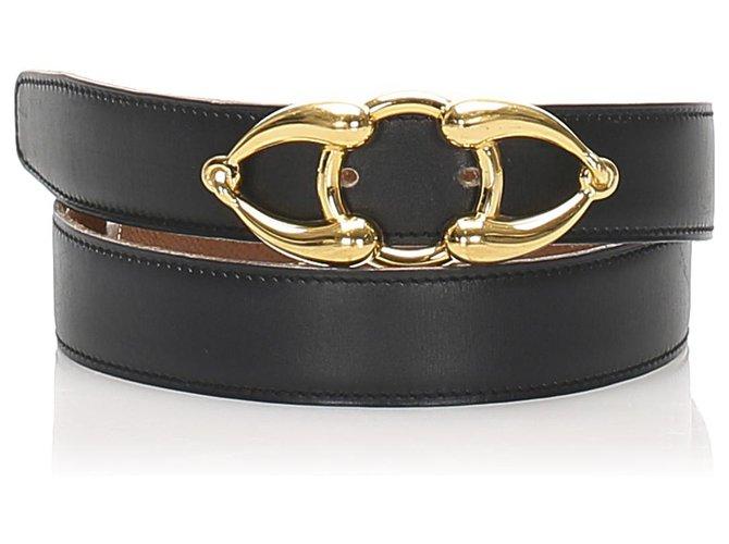 Hermès Hermes Black Leather Belt Clutch bags Leather,Other,Metal,Pony-style calfskin Black,Golden ref.232409