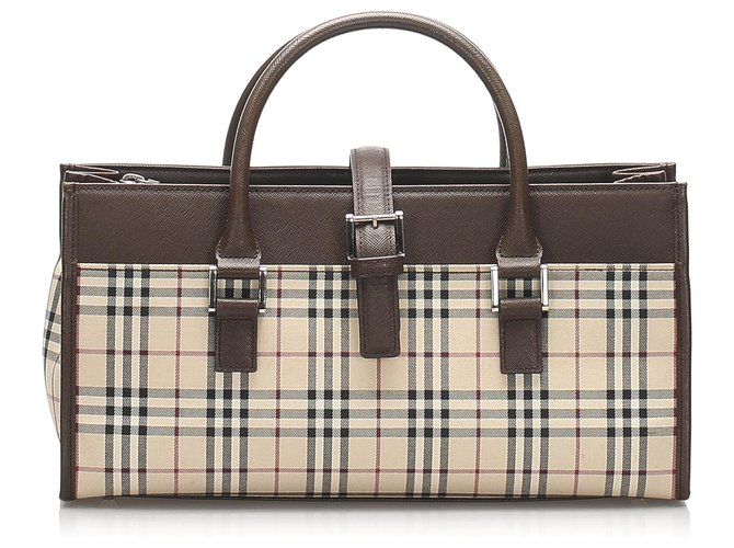 Burberry Burberry Brown House Check Canvas Handbag Handbags Leather,Cloth,Pony-style calfskin,Cloth Brown,Multiple colors,Beige ref.232420