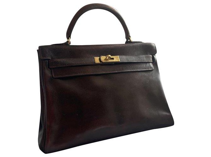 Hermès Kelly 32 Handbags Leather Dark brown ref.232607