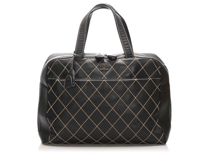 Chanel Chanel Black Surpique Leather Handbag Handbags Leather Black ref.232764