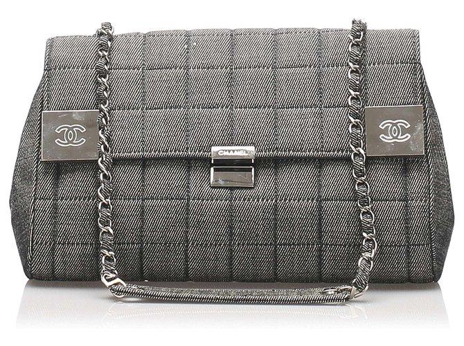 Chanel Chanel Gray Choco Bar Denim Flap Bag Handbags Denim,Cloth Silvery,Grey ref.232770
