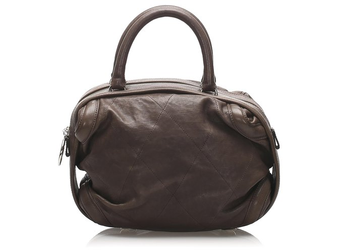 Chanel Chanel Brown Wild Stitch Lambskin Leather Handbag Handbags Leather Brown,Dark brown ref.232798