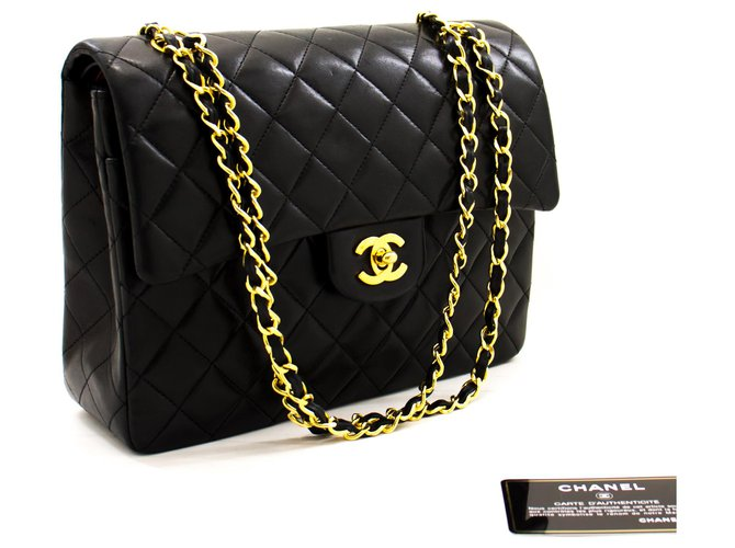 Chanel Chanel 2.55 lined Flap Square Chain Shoulder Bag Black Lambskin Handbags Leather Black ref.232840