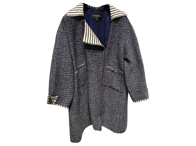 Chanel Coats, Outerwear Coats, Outerwear Cotton White,Blue ref.232878