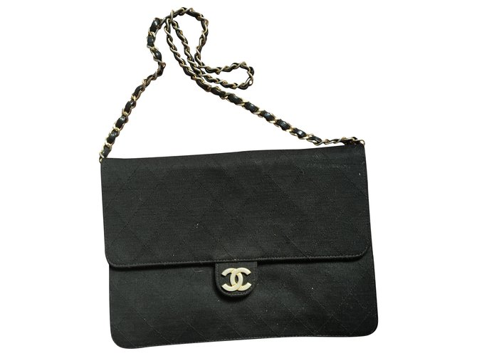 Chanel Chanel vintage jersey Handbags Cloth Black ref.232971