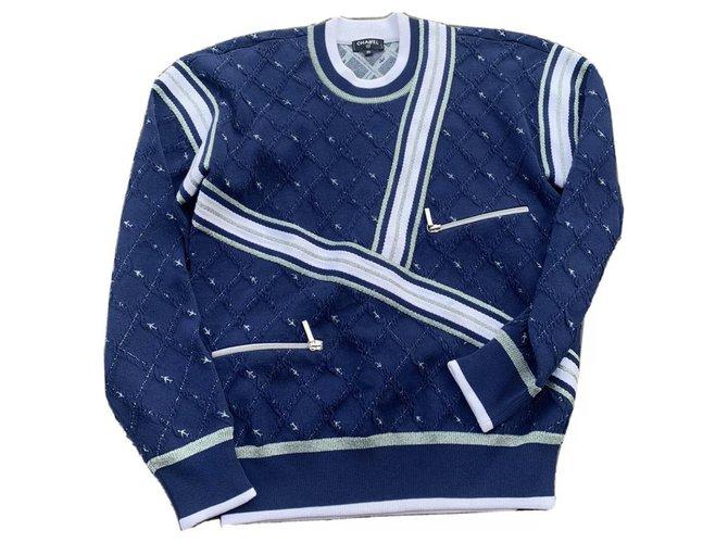 Chanel Knitwear Knitwear Cotton Navy blue ref.232992