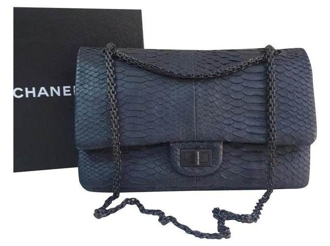 Chanel Chanel Chanel Anthracite Python 2.55 Reissue lined Flap Shoulder Bag Handbags Exotic leather Dark grey ref.233047