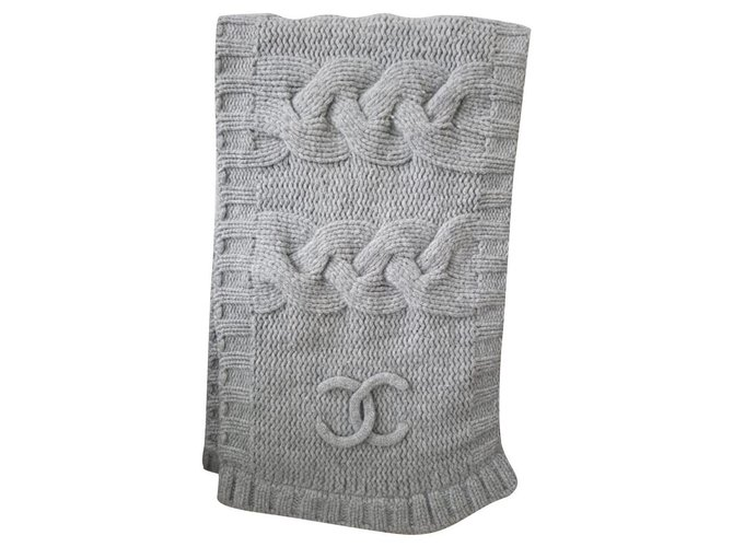 Chanel Scarves Scarves Wool Grey ref.233127