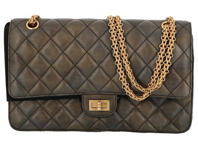 Chanel Chanel 2.55 Handbags Leather Grey ref.233154