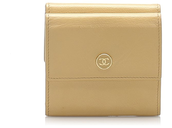 Chanel Chanel Brown Leather Small Wallet Misc Leather,Pony-style calfskin Brown,Beige ref.233351