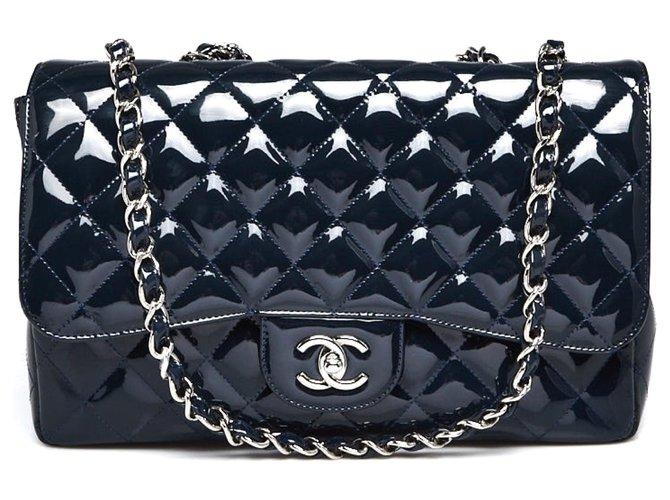 Chanel Flap Handbags Patent leather Dark blue ref.233407