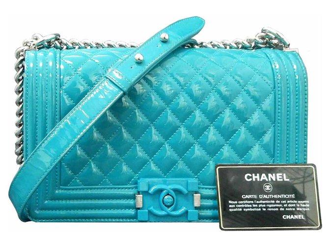 Chanel Handbags Handbags Patent leather Turquoise ref.233408