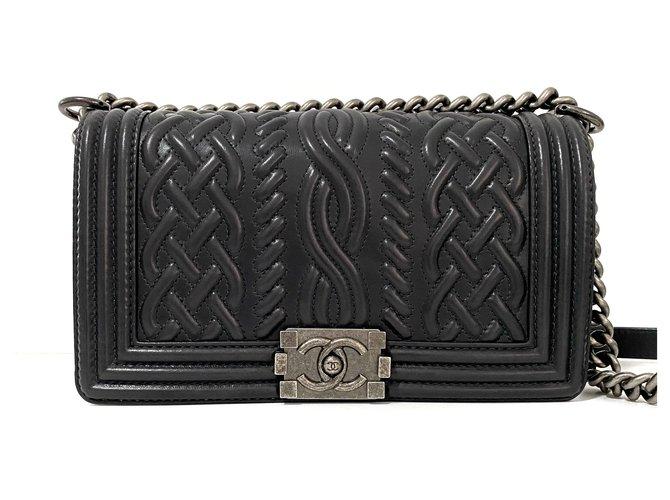 Chanel Boy Handbags Leather Black ref.233411