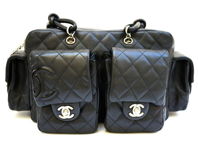 Chanel Cambon Handbags Leather Black ref.233416