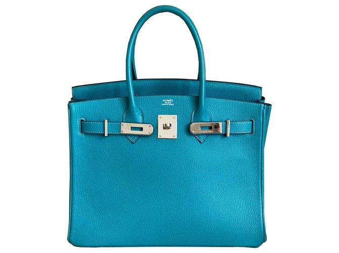 Hermès HERMES BIRKIN 30 Turquoise Chevre PHW Handbags Leather Blue ref.233474
