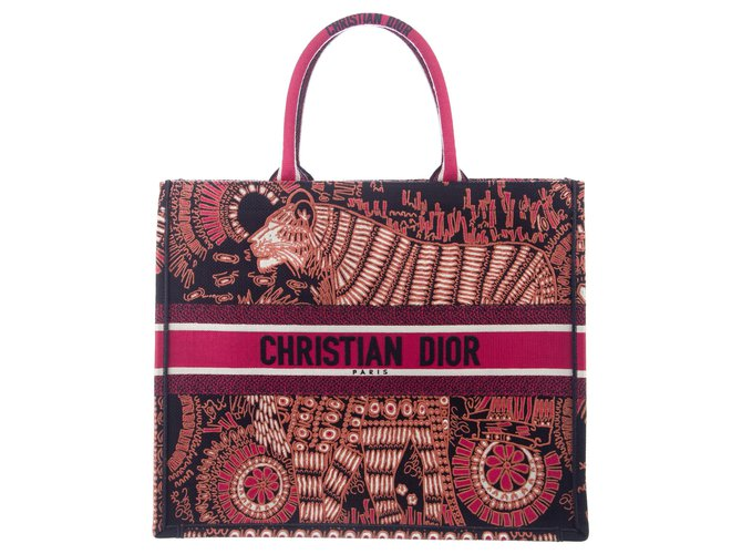 Dior DIOR BOOK TOTE DIOR ANIMALS EMBROIDERED CANVAS BAG Handbags Cotton Multiple colors ref.233605
