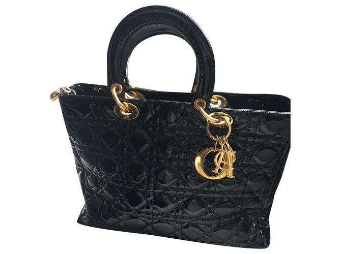 Christian Dior Handbags Black Patent leather  ref.233653